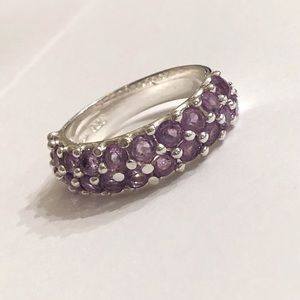 Lovely Sterling Purple Stone Ring Size 8